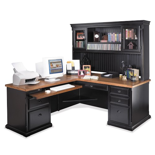kathy ireland Home by Martin Southampton L-Shaped Executive Desk with Left Facing Keyboard Return and Hutch