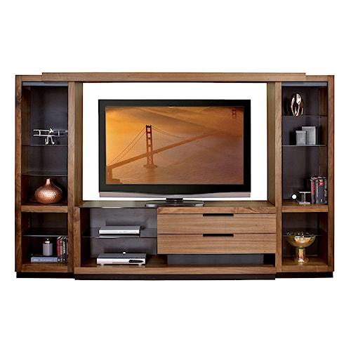 Martin Home Furnishings Stratus-Walnut Contemporary Full 4 Piece Wall Unit with Bridge