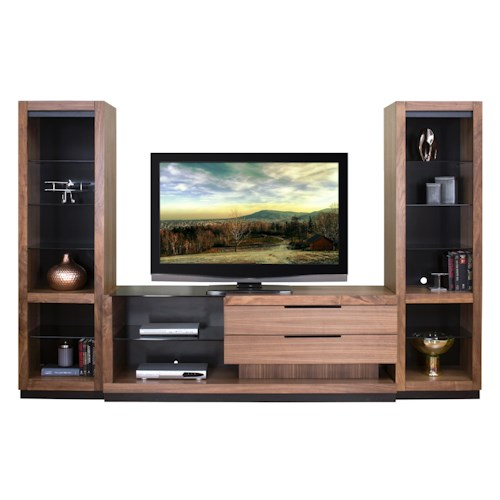 Martin Home Furnishings Stratus-Walnut Contemporary Right Focused Wall Unit with 2 Open Piers