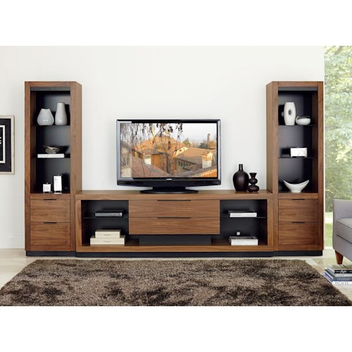 Martin Home Furnishings Stratus-Walnut Contemporary Center Wall Unit with Drawer Piers
