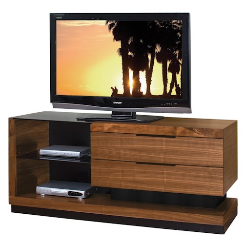 Martin Home Furnishings Stratus-Walnut Contemporary Small Television Console with 2 Drawers