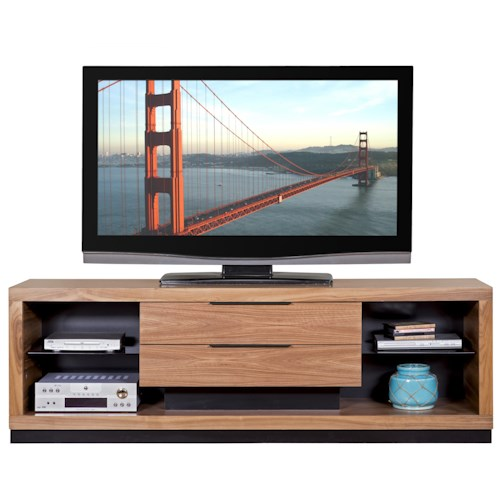 Martin Home Furnishings Stratus-Walnut Contemporary Television Console with 2 Drawers
