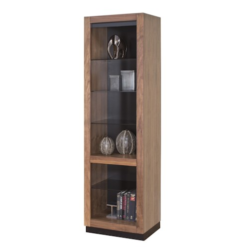 Martin Home Furnishings Stratus-Walnut Contemporary Open Pier with 3 Adjustable Glass Shelves