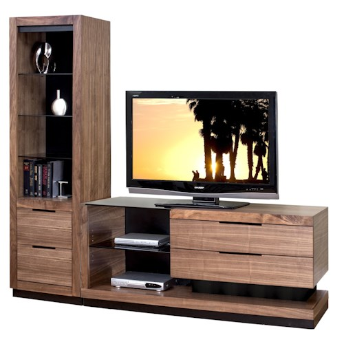 Martin Home Furnishings Stratus-Walnut Contemporary Small Left Side Wall Unit with 1 Pier