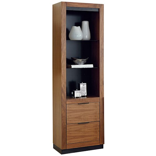 Martin Home Furnishings Stratus-Walnut Contemporary Pier with 2 Drawers and 3 Shelves