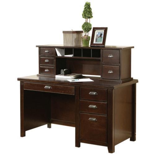 kathy ireland Home by Martin Tribeca Loft Single Pedestal Desk with Short Reception Desk
