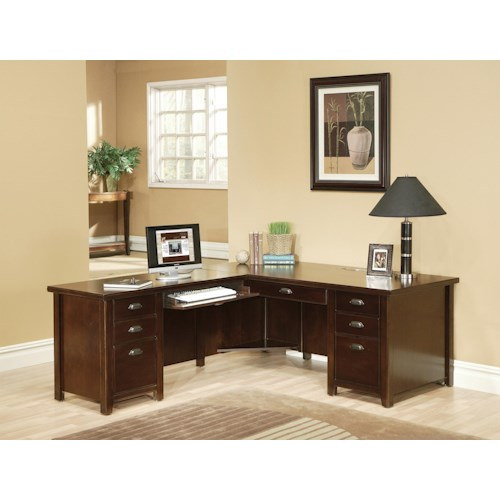 kathy ireland Home by Martin Tribeca Loft L-Shaped Desk with Left Hand Facing Keyboard Return