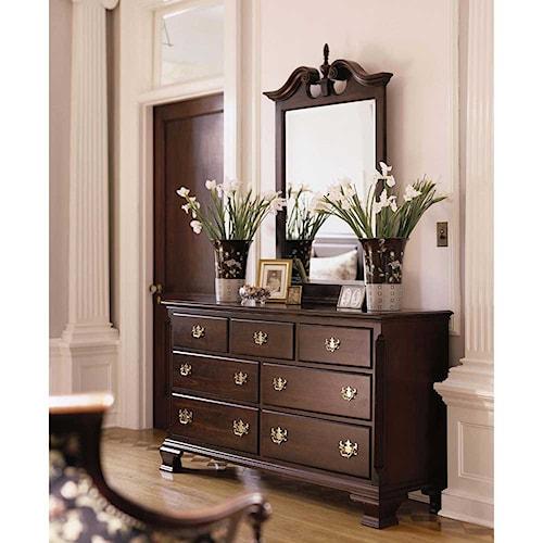 Kincaid Furniture Carriage House Double Dresser & Vertical Broken Pediment Mirror