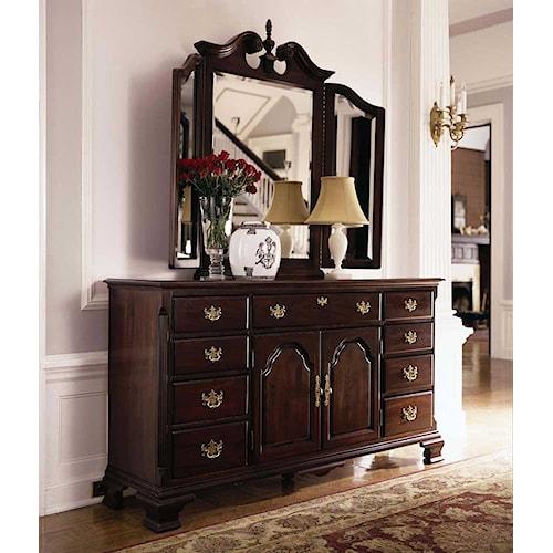 Kincaid Furniture Carriage House Triple Dresser & Tri View Broken Pediment Beveled Mirror