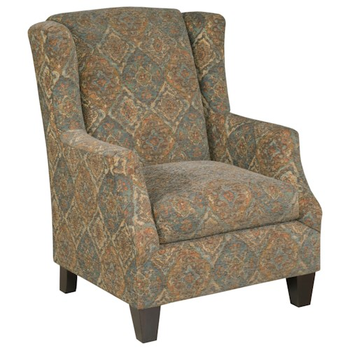 Kincaid Furniture 130 Transitional Wing Chair with Sloped Arms