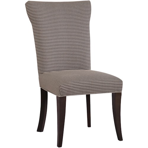 Kincaid Furniture Alston <b>Customizable</b> Dining Side Chair with Upholstered Back & Seat and Bowed Wooden Legs