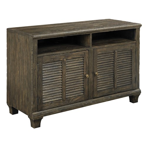 Kincaid Furniture Artisans Shoppe Accents Lorraine Small Rustic Media Console with 2 Shelves and 2 Doors