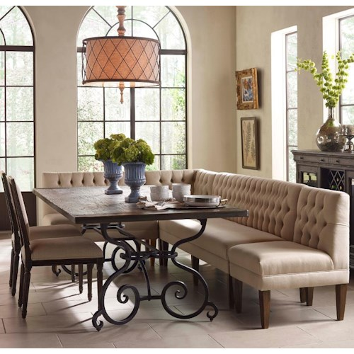 Kincaid Furniture Artisan's Shoppe Dining Seven Piece Rectangular Table with Upholstered Banquette and French Side Chairs