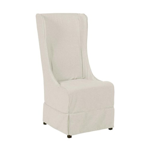 Morris Home Furnishings Middleburg Traditional Hostess Chair with Flax Natural Fabric