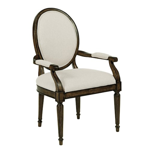 Kincaid Furniture Artisan's Shoppe Dining - Black Forest Traditional Oval-Backed Dining Arm Chair