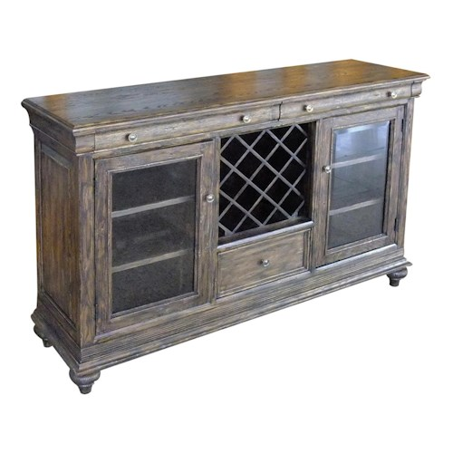 Morris Home Furnishings Middleburg  Traditional Cabernet Sideboard with Two Doors and Wine Storage Rack *Floor Models Only Left