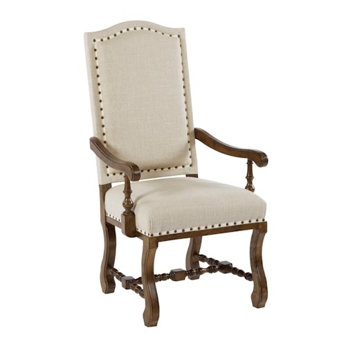 Kincaid Furniture Artisan's Shoppe Dining Traditional Upholstered Dining Armchair with Antique Nailhead Border