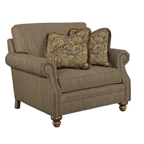 Kincaid Furniture Bayhill Traditional Chair & a Half with Turned Wood Feet