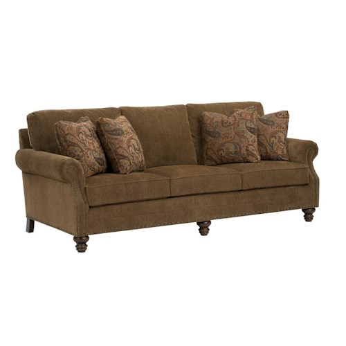 Kincaid Furniture Bayhill Traditional Sofa with Turned Wood Feet