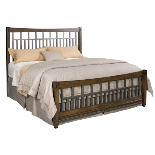 Kincaid Furniture Bedford Park Queen Elements Bed with Rustic Metal Accents