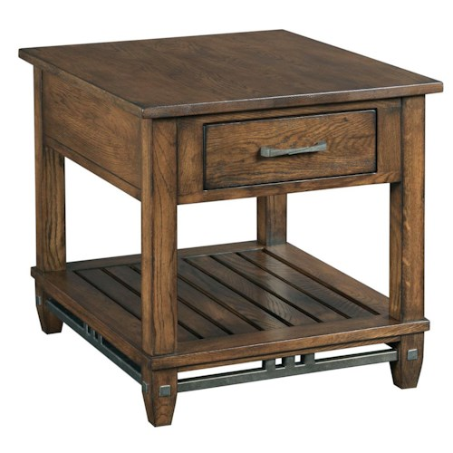 Kincaid Furniture Bedford Park Rectangular End Table with Drawer and Rustic Metal Accents