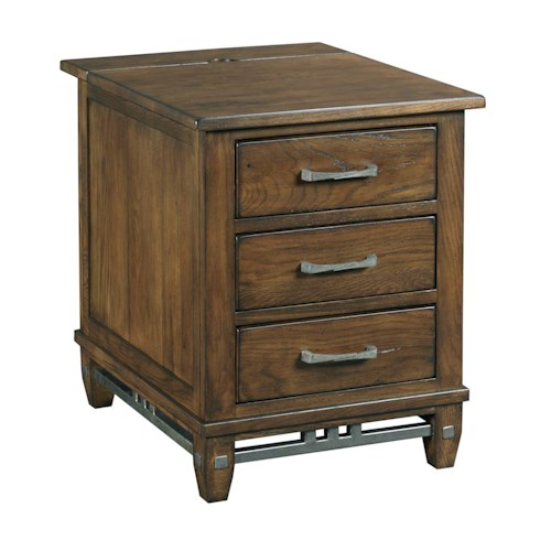 Kincaid Furniture Bedford Park Chairside Chest with Built-In Power Strip and Rustic Metal Accents