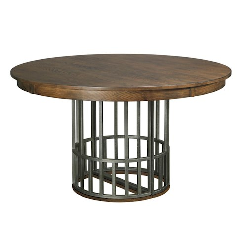 Kincaid Furniture Bedford Park Elements Dining Table with Expanding Metal Pedestal Base and One Extension Leaf
