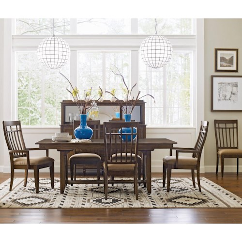 Kincaid Furniture Bedford Park Seven Piece Bedford Trestle Table and Surrey Upholstered Chairs Set