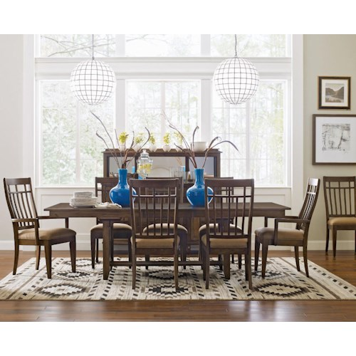 Kincaid Furniture Bedford Park Nine Piece Bedford Trestle Table and Surrey Upholstered Chairs Dining Set