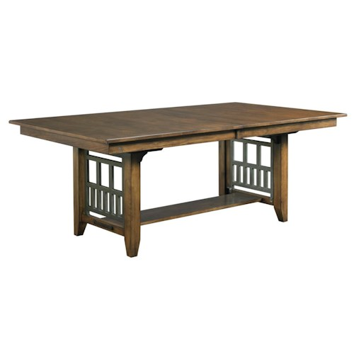 Kincaid Furniture Bedford Park Bedford Trestle Dining Table with Extension Leaf and Rustic Metal Accents