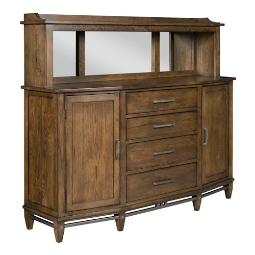 Kincaid Furniture Bedford Park Canyons Buffet and Hutch with Mirrored Back and Display Lighting