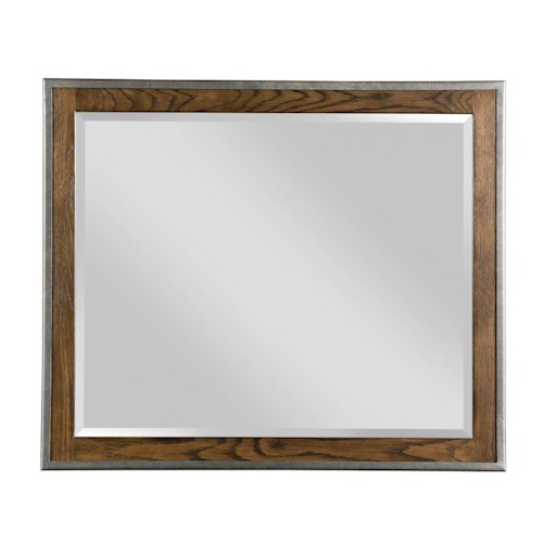 Kincaid Furniture Bedford Park Hammond Solid Oak Mirror with Rustic Metal Frame