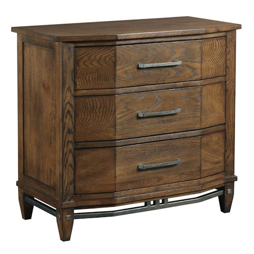 Kincaid Furniture Bedford Park Solid Wood Canted Bedside Chest with Rustic Metal Accents