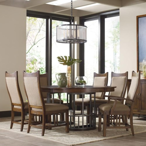 Kincaid Furniture Bedford Park Seven Piece Elements Table and Craftsman Upholstered Chairs Set