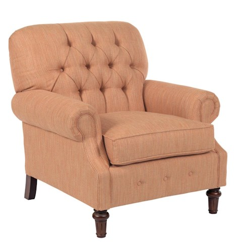 Kincaid Furniture Berkshire Rolled Arm Chair with Button Tufting
