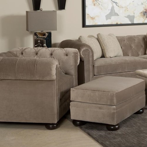 Kincaid Furniture Camden  Chesterfield-Style Chair and Ottoman with Wooden Bun Feet