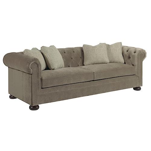 Kincaid Furniture Camden  Chesterfield Sofa with Toss Pillows and Wooden Bun Feet