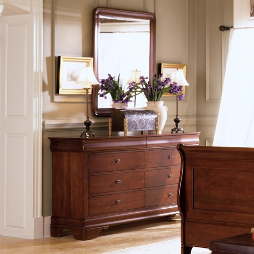 Morris Home Furnishings Canfield Eight-Drawer Dresser & Rounded Edge Vertical Mirror Combination