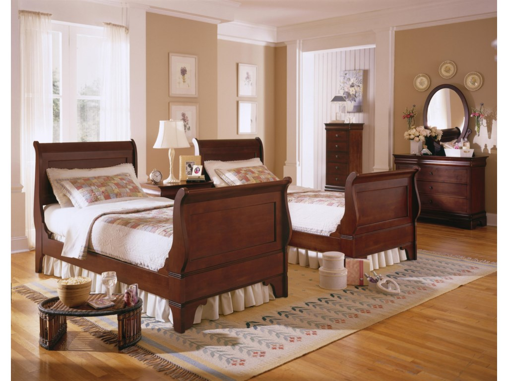 Shown with Sleigh Beds, Dresser, and Oval Mirror