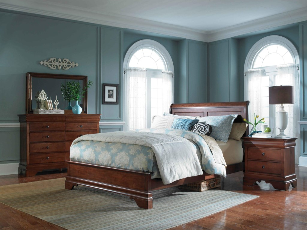 Shown with Low-Profile Sleigh Bed, Bureau, and Double Vision Landscape Mirror