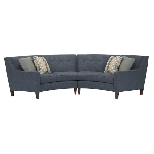 Kincaid Furniture Chelsea Two-Piece Contemporary Conversation Sectional with Sloped Arms and Button-Tufting