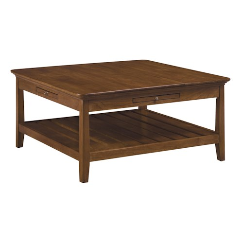 Kincaid Furniture Cherry Park Square Cocktail Table with Four Laminate Pull-Out Trays