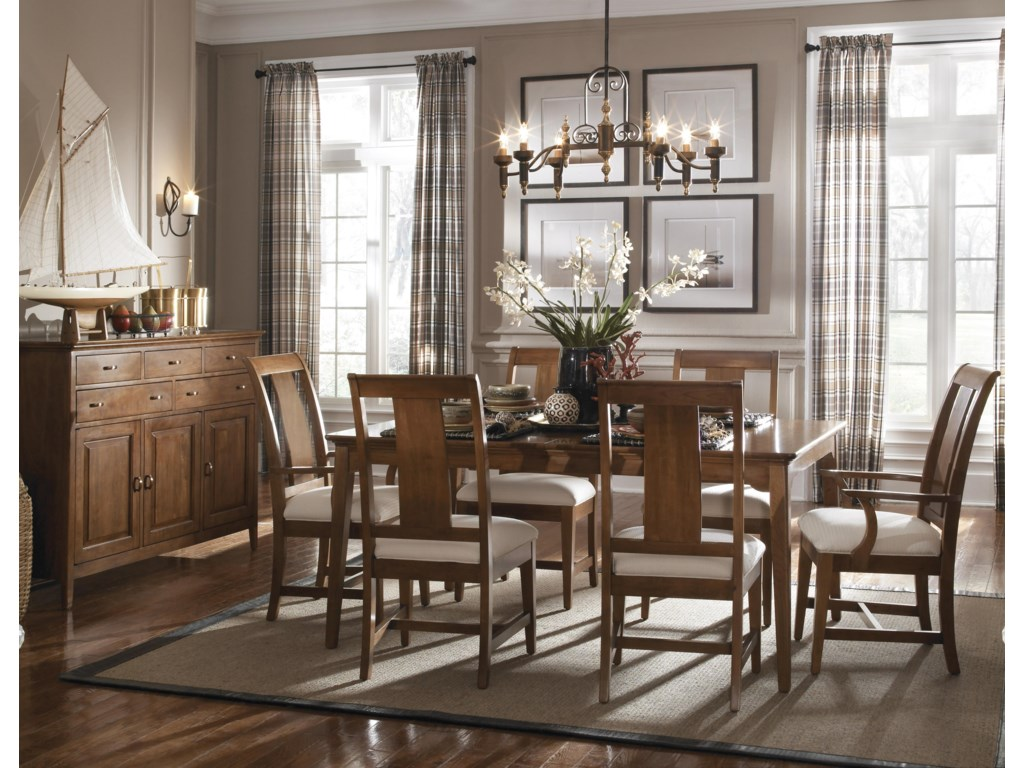 Shown without Leaf, Arm and Side Chairs, and Sideboard