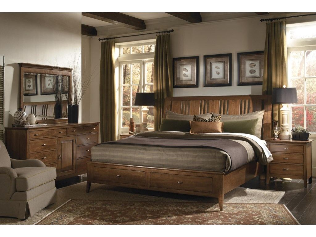 Shown with Sleigh Headboard, Storage Footboard, Landscape Mirror, and Door Dresser