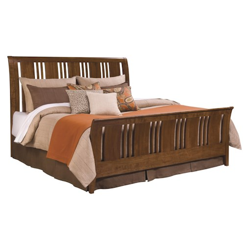 Kincaid Furniture Cherry Park King Slat Sleigh Bed