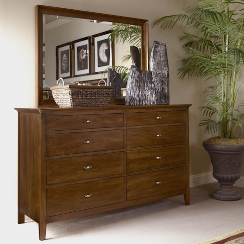 Kincaid Furniture Cherry Park Eight Drawer Double Dresser & Landscape Mirror Combo
