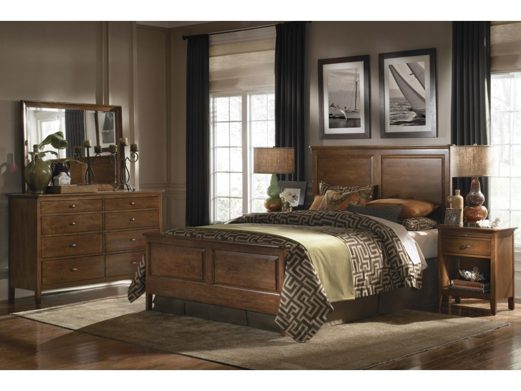 Shown with Landscape Mirror, Panel Bed Headboard and Footboard, and Open Nightstand