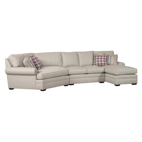 Kincaid Furniture Custom Select Upholstery Three Piece Custom Built Sectional Sofa with Cuddler and Chaise Lounge