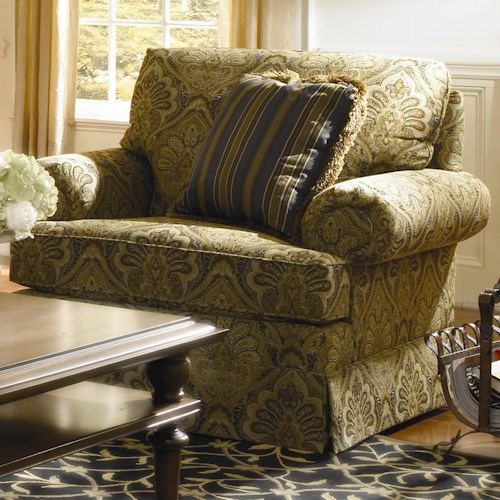 Kincaid Furniture Custom Select Upholstery Custom Upholstered Arm Chair with Skirted Base