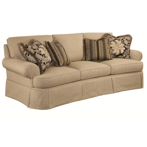 Kincaid Furniture Danbury Traditional Conversation Sofa with Waterfall Skirts and Fan-Pleated Arms